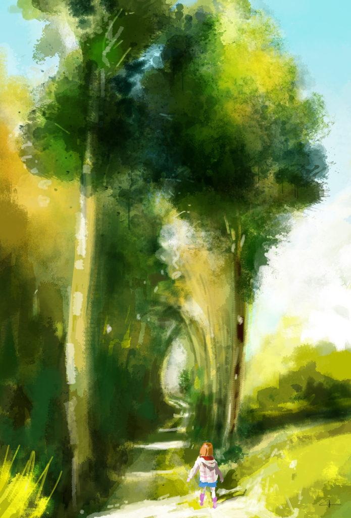 Peinture Little girl on the shining path