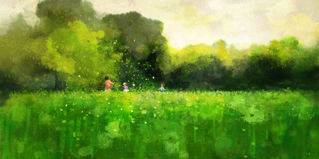 Peinture The green field